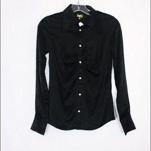 Faith Black Silk Button Down Shirt XS